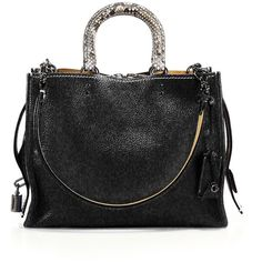 COACH 1941 Rogue Leather & Python Satchel ($1,200) ❤ liked on Polyvore featuring bags, handbags, apparel & accessories, leather satchel purse, snake skin purse, leather handbags, satchel handbags and python handbag