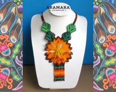 Mexican Huichol Beaded Orange Flower Necklace by Aramara The Snake, Flower Necklace, Beaded Necklace, Huichol Art, Mexican Paintings, Art Perle, Art Du Fil, Native American Earrings, Mexican Designs