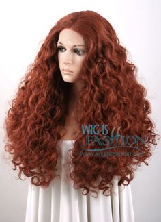 """Merida - 18""""-28"""" Long Curly Reddish Brown Lace Front Wig"""
