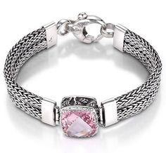 Sara Blaine Sterling Silver Morganite Topaz Weave Bracelet (5356MG)