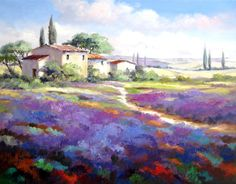 Kunstmalerin Ute Herrmann | Gemälde mit leuchtend violettem Lavendel in der Landschaft der Provence in Frankreich.