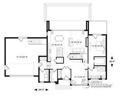 Plan de Rez-de-chaussée Maison cubique moderne, bureau à domicile, garde-manger…