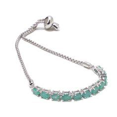 "Colleen Lopez ""Sense of Charm"" Oval Gemstone Adjustable Sterling Silver Bracelet - Green"