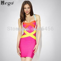 HEGO 2015 Hot Summer Women 100% Rayon Rainbow Sexy Patchwork Pink Cocktail Dress Strap Bandage Dress Drop Shipping  HL047