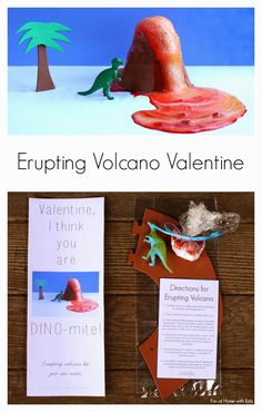 Just-add-water Erupting Volcano Kit Dinosaur Valentine for Kids - you can make this with items from The Dollar Tree!  Free printables includ...