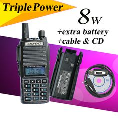 UV-82HX Baofeng UHF/VHF de Banda Dual 136-174/400-520 MHz Jamón Radio de Dos Vías GT-3 MarkII Walkie Talkie + Batería Extra + cable de programación