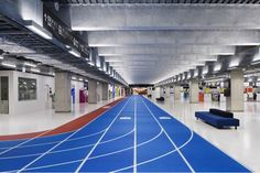 Sprint through departures. Ahead of Tokyo's 2020 Olympic Games, Narita International airport has unveiled its new terminal, complete with a sports theme.