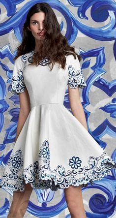 DOLCE & GABBANA SUMMER COCKTAIL DRESS BLUE MAJOLICA JUNE 2015 ~Kennedy Chic