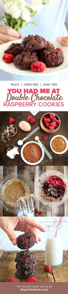 A decadent cookie without any flour? You betcha! Keeping it Paleo is easy with these double chocolate raspberry cookies! Get the recipe here: http://paleo.co/chocraspberrycookies