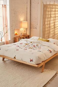 Cute Bedroo with Urban Outfitters Blossom Embroidered Duvet Cover Dream Bedroom, Home Decor Bedroom, Bedroom Ideas, Bedroom Bed, Design Bedroom, Warm Bedroom, Bedroom Simple, Simple Bed, Budget Bedroom