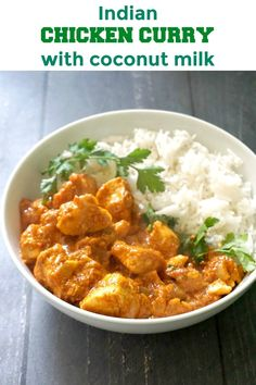 Indian Chicken Curry with Coconut Milk, a quick and easy recipe that is ready in about 30 minutes. The perfect midweek dinner recipe for the whole family. Butter Chicken, Chicken Curry Coconut Milk, Coconut Curry Sauce, Easy Chicken Curry, Curry With Coconut Milk, Indian Chicken Curry, Recipes With Coconut Milk, Indian Chicken Vindaloo Recipe, Recipes