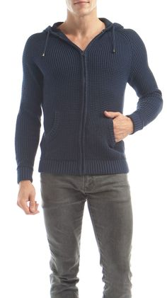 Hooded Navy Full Open Sweater