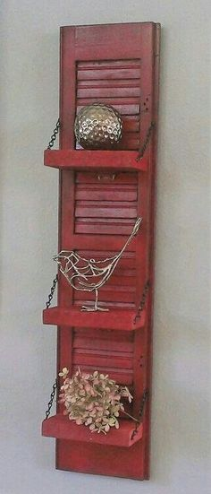 Old Shutter Repurposed into a shelve...I like this! #repurposedjunk
