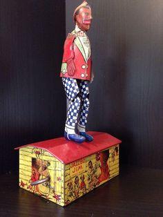 1930 S J Chein Clown In Barrel Wind Up Tin Toy Walker