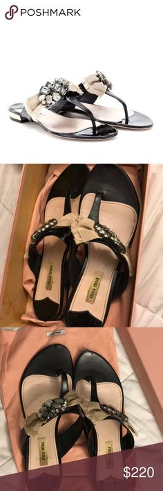 Miu Miu Jeweled Bow Sandals In pre loved condition, some wear. Scratch on front. Fits like a sz 9. Comes with dust bag no box Miu Miu Shoes Sandals