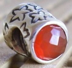 Authentic & Retired Pandora Thimble w/ Carneol Charm