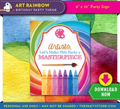 Printable Art Party Sign from The Party Stork.com. Download, print and cut.