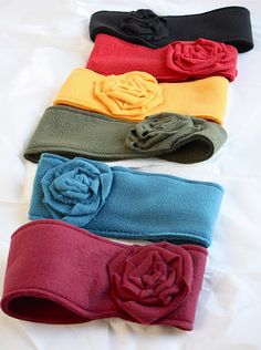 Fleece Ear Warmers - cute, fast, easy (alter buttons to elastic...maybe)