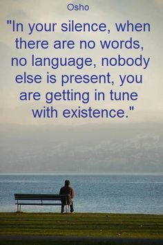 Osho .... In your silence, when there are no words, no language, nobody else is present, you are gettin in tune with existence.  (God defines my existence. This is the context I put this quote in._