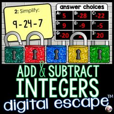 Multiplying And Dividing Integers, Adding And Subtracting Integers, Math Word Walls, Math Words, 7th Grade Math, Escape Room, Addition And Subtraction, Teaching Science, Math Activities
