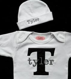 Personalized Baby Boy Clothes One-Piece & Personalized  Beanie Hat Newborn Boy Take Home Outfit - http://www.babies-clothes.info/personalized-baby-boy-clothes-one-piece-personalized-beanie-hat-newborn-boy-take-home-outfit.html