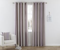 Henley Eyelet Curtains Heather | Ponden Homes