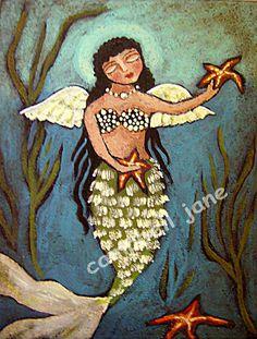 Noche Sirena nota cartas de Original Acuarelas De Camille Grimshaw Moon Star
