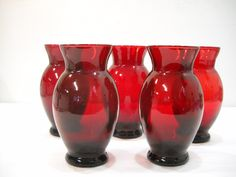 Vintage Lot Of 5 Dark Ruby Red Glass Vases Anchor Hocking Glass Vases by SeaPillowTreasures on Etsy