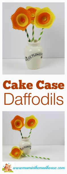 How to make cake case daffodils.  These simple kid made flowers are pretty mess free and perfect for spring
