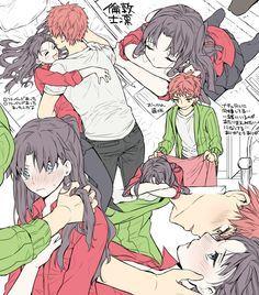 Anime Couple Kiss, Anime Kiss, Anime Couples, Fate Stay Night Rin, Fate Stay Night Series, Manga Anime Girl, Anime Child, Fate Archer, Tohsaka Rin