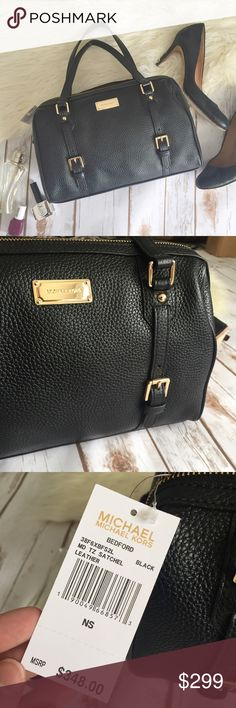 """NWT Michael Kors black leather Bedford satchel This is a classic, beautiful black bag. It works for any season, with any outfit, and lasts a life time. Gold tone hardware, interior lining with signature satin, 1 zipper pocket, 4 slip pockets, and black pebble leather features.  ➕Condition: brand new, Michael Kors tags still attached (retail value $378.00) ➕Measurements: 12"""" W x 8"""" H x 7"""" D (handle is 8"""" drop), crossbody strap measures approximately 50"""" Michael Kors Bags Crossbody Bags"""