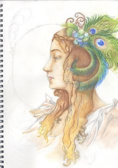 Zita Komár's art blog www.zizke.tumblr.com Its a Mucha inspirated painted with aquarell