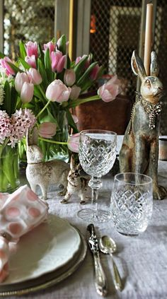 Spring tulip and bunny tablescape