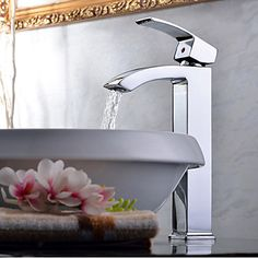Elegant Brass Bathroom Sink Faucet - Chrome Finish (Tall) – USD $ 118.49