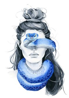 Blue snake blindfolded girl from my wall art print collection. Great for framing and room decor. Home Decor Wall Art. Snake Painting, Snake Drawing, Snake Art, Snake Sketch, Watercolor Girl, Watercolor Paintings, Texture Photoshop, Arte Obscura, Shiva Art