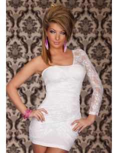 White Lace Sexy Dress Comes with a matching g-string.  It is of a Soft fit and quick dry. This lovely little number features One-shoulder silhouette. Fitted bodice. Made by silky lace, this dress emerges to bring forth your vampy, warrior princess style. Wear this graceful white dress and be unforgettable!