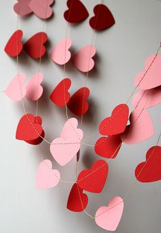 Valentines day heart garland Red pink heart by TransparentEsDecor
