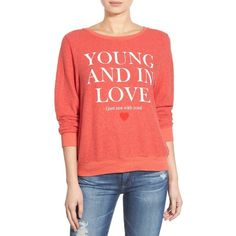 Wildfox 'Baggy Beach Jumper - Not With You' Pullover ($98) ❤ liked on Polyvore featuring tops, sweaters, ariel red, crewneck sweater, long sleeve pullover sweater, wildfox sweater, red crew neck sweater and red top
