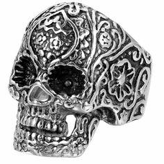 Retro Gothic Carve Stainless Steel Men Biker Skull Ring Size 7-12 Halloween Gift #Unbranded #Band