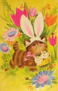 Easter cat & kittens