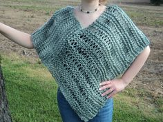 Knitted Poncho/Shawl 100 virgin wool by WendysWonders127 on Etsy, $80.00