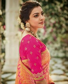 Kajal aggarwal Indian Costumes, Bridal Looks, Wedding Looks, Lehenga Blouse, Sari, Blouse Online, Saree Blouse Designs, Indian Bridal, Telugu