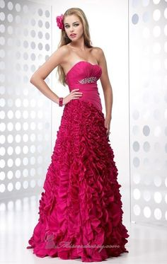 Alyce Designs 6601 Fuschia Size 14 fitted prom dress, evening dress, textured bottom