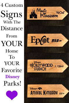 Four custom made signs with the distance from YOUR home to Walt Disney World! The perfect gift for your friends, family or you! Imagine the joy on their faces when they get this! Disney Hall, Disney Sign, Disney Playroom, Disney Rooms, Disney Christmas Decorations, Disney Home Decor, Mickey Mouse Crafts, Disney Tote Bags, Disney Garden