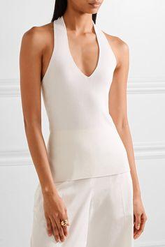 Elizabeth and James - Linden Ribbed Stretch Merino Wool-blend Halterneck Top - Off-white - medium
