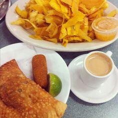 (clockwise)  Plantain chips, Cuban coffee & a beef empanada. #Latin #Food