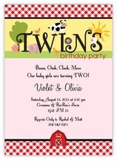 Fanciful Farm Twin Girls Birthday Invitation - Classic red gingham trims this cute card for a barnyard or farm animals party. Custom Twins Birthday Invitations from the leader in Twins & Multiples stationery products - www.amyscardcreations.com - Cards as low as $1.15 - Thank you for shopping with me and supporting small business!