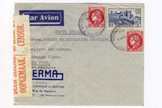 French airmail cover, Paris to Cape Town ( South Africa ) with three french stamps and two unclear Paris cancellations