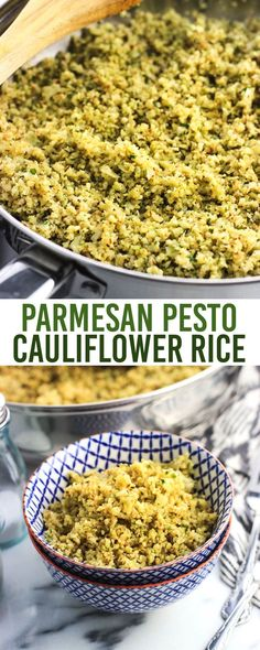 Parmesan pesto cauliflower rice is a quick, healthy side dish flavored with Parmesan cheese and pesto sauce. Its light and fluffy texture make this lower-carb dish a treat!