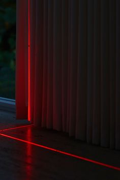 Geometry of Mies van der Rohe's Farnsworth House illuminated with red lasers Led Profil, Farnsworth House, Welcome To My House, Dream House Interior, Dark Interiors, Home Room Design, Glass House, House Goals, Modern House Design